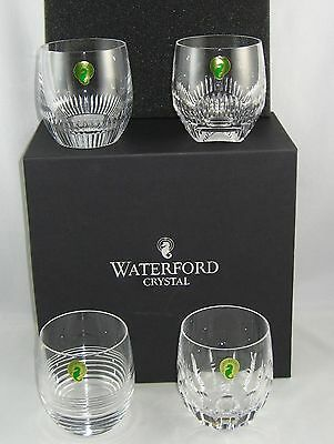 """Waterford Crystal Mixology Set Of 4 """"MIXED CLEAR TUMBLERS"""" New In Box"""
