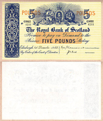 GEM UNCIRCULATED 1952 £5 The Royal Bank of Scotland issued note