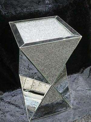 Large Luxury Crushed Diamond Mirrored Pedestal, Mirrored Lamp Table,
