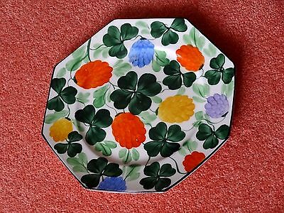 """Scottish Pottery Probably Britannia, Excelt  8-sided Art Deco Hand-p'td 8"""" Plate"""