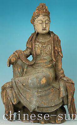 Big Chinese Wood Handmade Carved Buddha Sage Guanyin Statue Figure Decoration