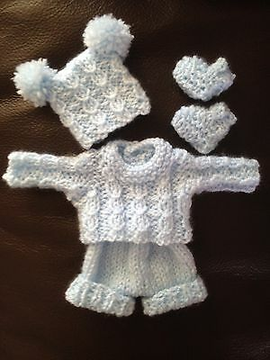 Hand Knitted Dolls Clothes To Fit 6-7 inch Ooak , Reborn Or Similar