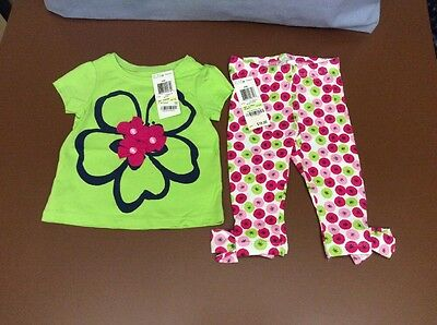 Girls Size 3-6 Months FIRST IMPRESSIONS Green 2 Piece Summer Pants Outfit NEW