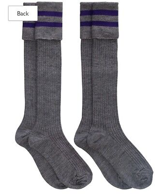 New 2 Pairs Boys Knee High Grey School Socks Purple Band Loops 12.5-3.5 Wool Mix