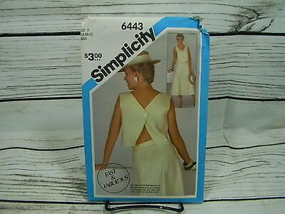 Vtg 80s Simplicity Fast & Fabulous Top/Skirt #6443 Sewing Pattern NEW Size 6-10