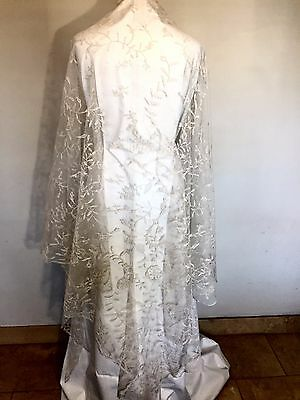 Stunning Antique Early C19Th Hand Made Lace Wedding Veil - Beautiful