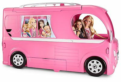 Barbie Pop-Up Camper Vehicle Front cab converts into a bathroom