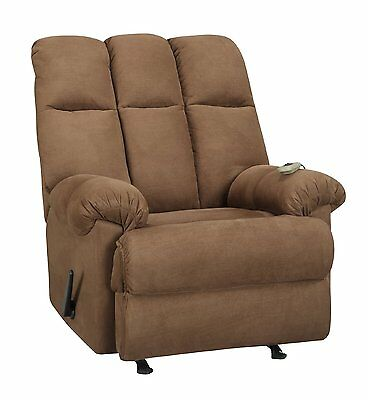 Dual Living Massage Rocker Recliner with Lever Release Padded Comfort Chocolate