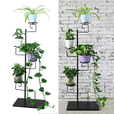 4 Tiers Black Home Garden Metal Plant Stand Decor Flower Pot display Shelf rack