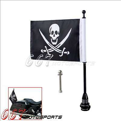 Custom Motorcycle Black Rear Side Mount Flag Pole with Skull Flag For Harley Hot