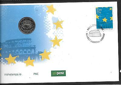 2007     FDC  PNC  TREATY OF ROME With coin 50th Anniv      An Post