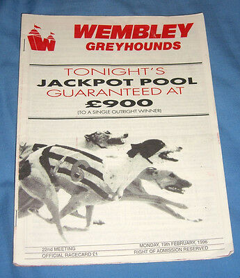 Wembley Greyhounds Official Race Card/Programme - Monday 19th February 1996