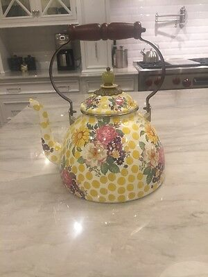 Amazing MacKenzie-Childs 3 Qt TEA KETTLE:  Retired BUTTERCUP Yellow Dots / Rose