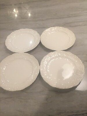 Antique ROSE POINT by STUEBENVILLE / POPE-GOSSER:  SET of 4 BREAD PLATES 6 3/8""