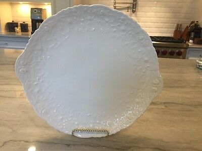 "Antique ROSE POINT by STUEBENVILLE / POPE-GOSSER:  11"" Handled CAKE PLATE"