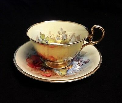 """AYNSLEY-BONE CHINA HANDPAINTED CUP and SAUCER with PINK ROSE """"Bailey"""""""