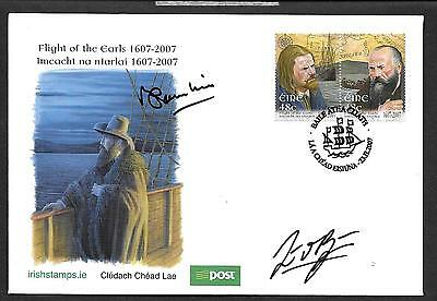2007      FDC   FLIGHT OF THE EARLS Autographed       An Post