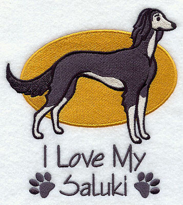 I Love My Saluki Dog SET OF 2 HAND TOWELS EMBROIDERED