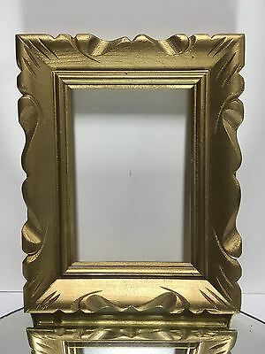 """VTG.MID-CENTURY Wide Painted gold Carved Wood Picture FRAME 5""""x7"""""""