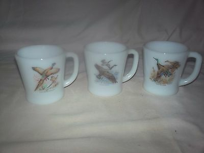 Three (3) White Milk Glass Game Birds Anchor Hocking Fire King Coffee Mugs EUC!