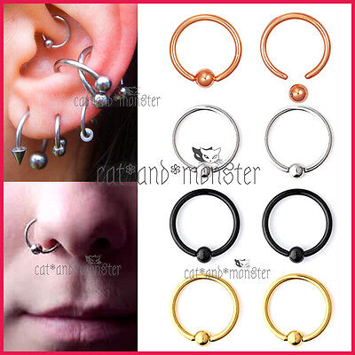 Titanium Captive Ball Bead Hoop Cartilage Septum Ear Earrings Nose Ring Piercing