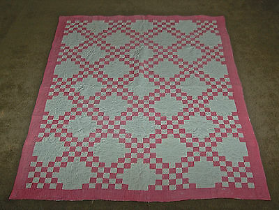 Antique Pink and White Irish Chain Quilt