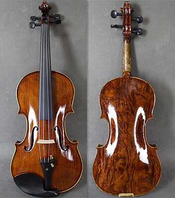Tan Color / Solid Bird-eye Wood 4/4 Hand Made&Varnished Violin / Free Bow & Case