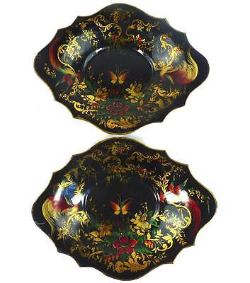 Pair Antique Toleware Metal Bowls Dishes Trays Birds Butterflies & Flowers