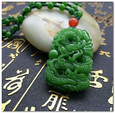 Green Hand-carved Chinese Hetian Jade Pendant - Dragon-Free Necklace%  K01