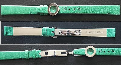 New 12mm wide green soft genuine leather ostrich print watch band + ss clasp
