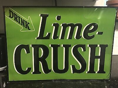 Rare Late 1920's Drink Lime Crush Original Embossed Advertising Sign Excellent