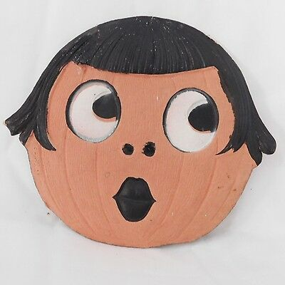 Small Jack O Lantern Flapper girl cardboard Halloween decoration – German 1920s