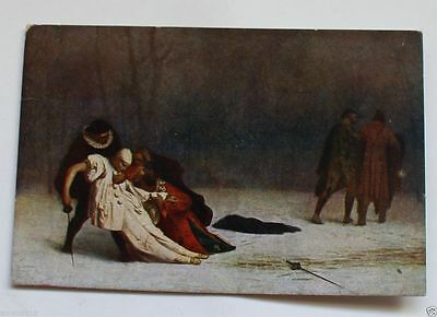 Famous Painting Art Postcard the deading after Duel.