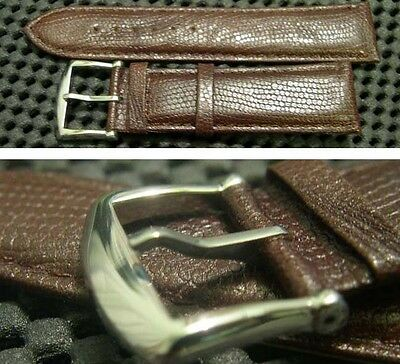 22mm wide brown color stitch genuine leather watch band classy stainless buckle