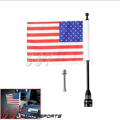Universal Motorcycle Bike American USA Flag pole Luggage Rack Mount For Harley