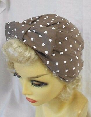 VINTAGE INSPIRED 1940's 1950's STYLE BROWN SPOT POLKA DOT TURBAN HAT