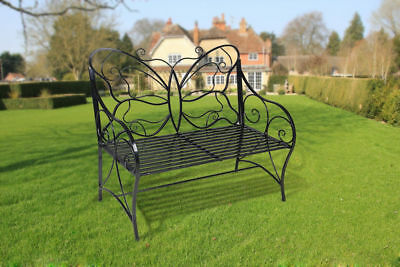 Butterfly Patterned Black Decorative Metal Home Garden Bench Backrest 2 Seaters