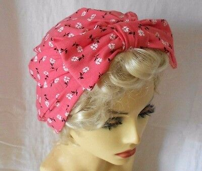 SALE VINTAGE INSPIRED 1940s 50s STYLE CORAL PINK TURBAN HAT LINDYHOP WW2 SWING