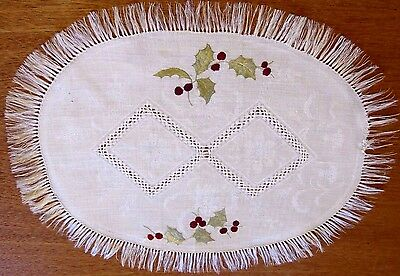 Antique Vintage Doily Hand Embroidered Society Silk Linen Damask Christmas Holly