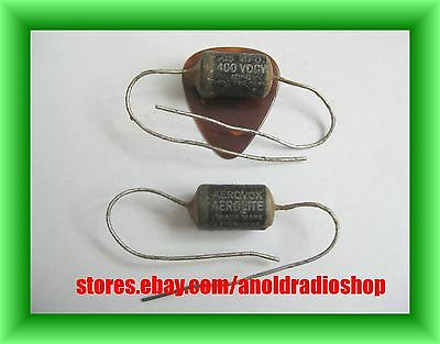 Pair NOS Aerovox .05 uF 400V paper wax guitar tone capacitors early oil PIO caps