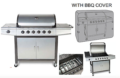 CosmoGrill 6+1 Deluxe Gas BBQ Silver Barbecue Grill Side Burner With Cover 93417