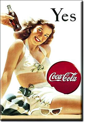Yes Coke  Coca Cola  2 by 3 Inch Miniature Tin Sign Magnet