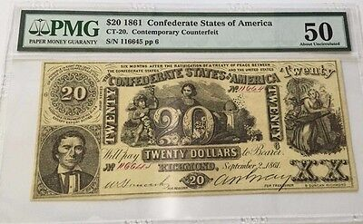 1861 $20 Confederate Counterfeit Note! PMG Graded AU50! CT-20 Paper Money! H-89