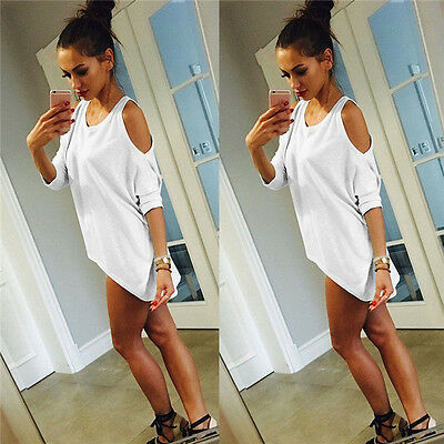 Fashion Womens Summer Off Shoulder Short Sleeve Casual T-Shirt Tops Loose Blouse