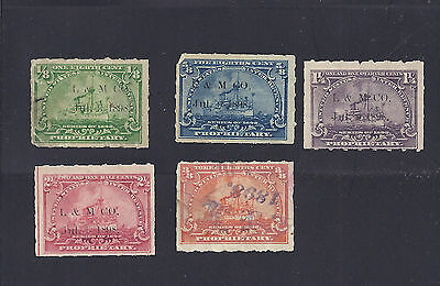 US Battleship revenue stamps with Langely & Michaels printed and handstamp cance