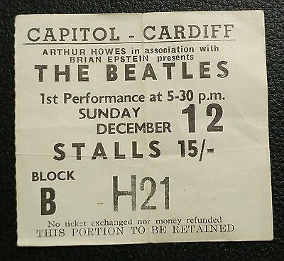 The Beatles Ticket Dec.12,1965 Cardiff Wales Last Date of Final UK Tour