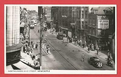 Old REAL PHOTOGRAPH Postcard   NORTHUMBERLAND STREET  Newcastle   Northumberland