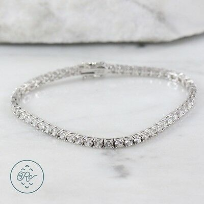 "Sterling Silver | 5mm Round Cut Crystal Tennis 13.7g | Bracelet (8"") MY6963"