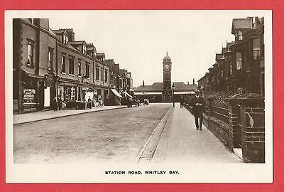 Old REAL PHOTOGRAPH Postcard   STATION ROAD   WHITLEY BAY    Northumberland