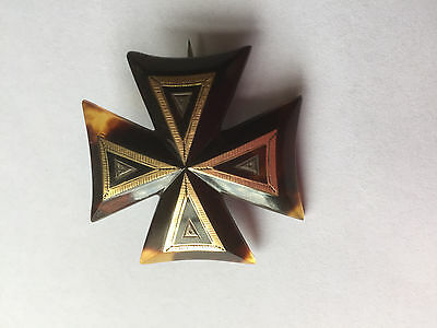 Vintage Pique Maltese Cross Mourning Brooch